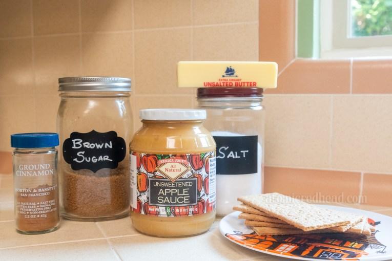 Ingredients, including cinnamon, brown sugar, apple sauce, salt, butter, and graham crackers.