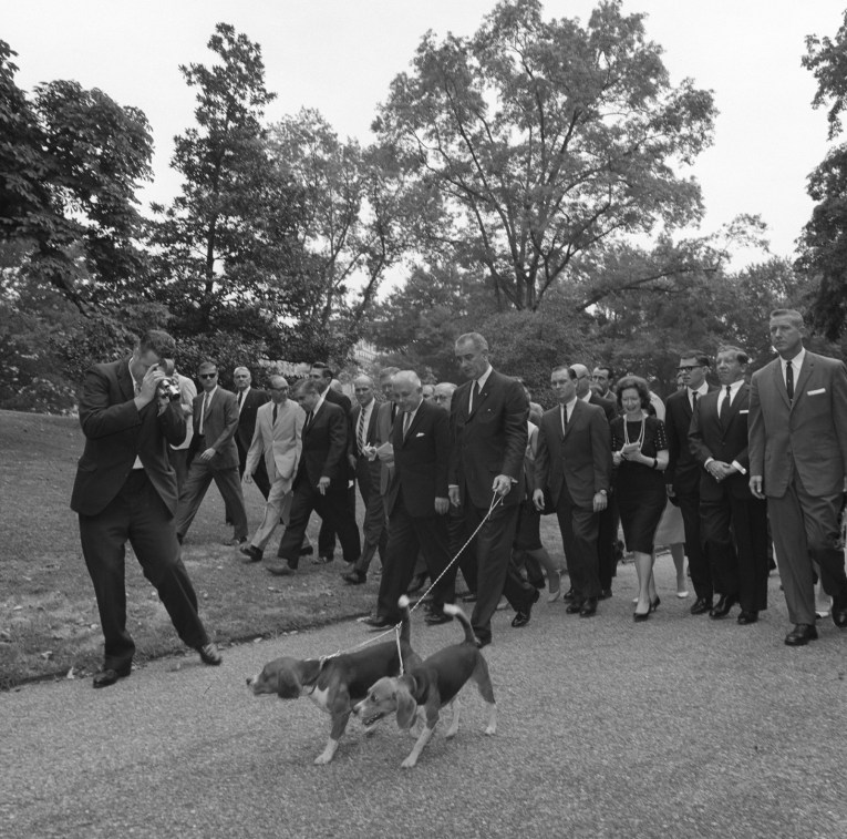 President Johnson walks two beagles with the press following.