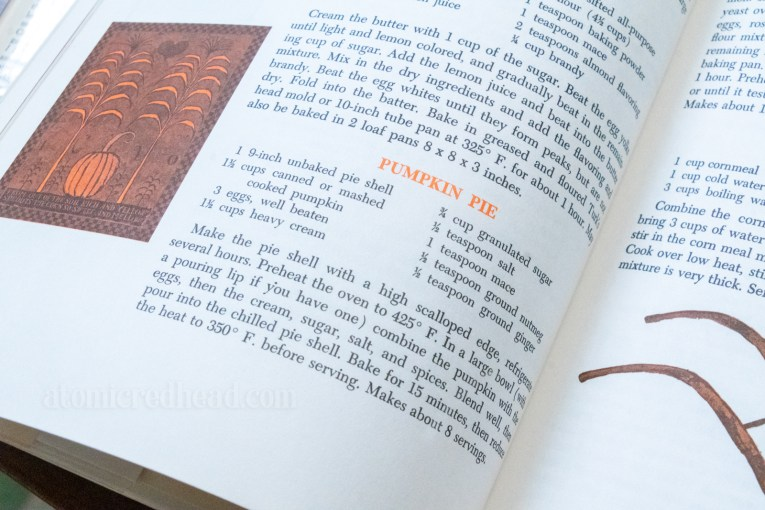 Photograph of the pumpkin pie recipe.