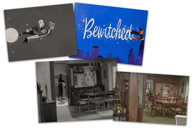 At the upper left a screencap of WandaVision featuring an animated Wanda and Vision flying, next to it is a screencap of Bewitched's opening which was animated with Samantha flying on a broom. Below screencaps of the WandaVision dining room and the Bewitched dining room showing the similarities.