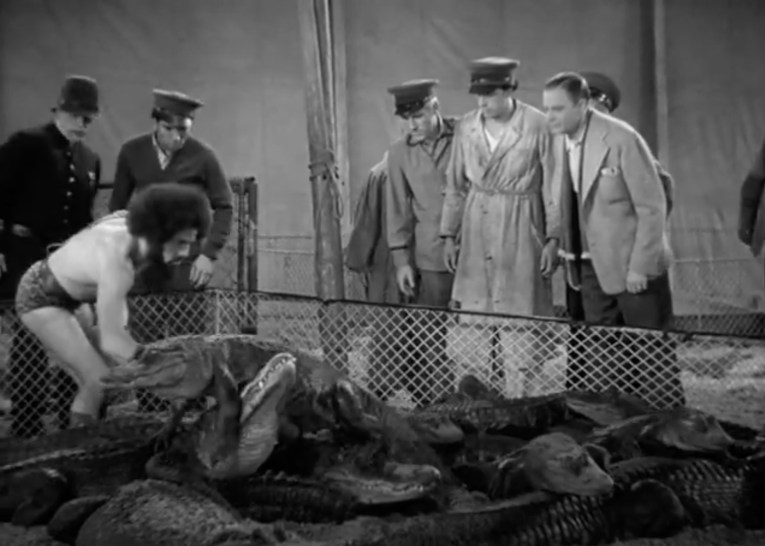 Screencap from You Can't Cheat an Honest Man, a group of men look over a pen of alligators. A man in a leopard print leotard wrestles with one.