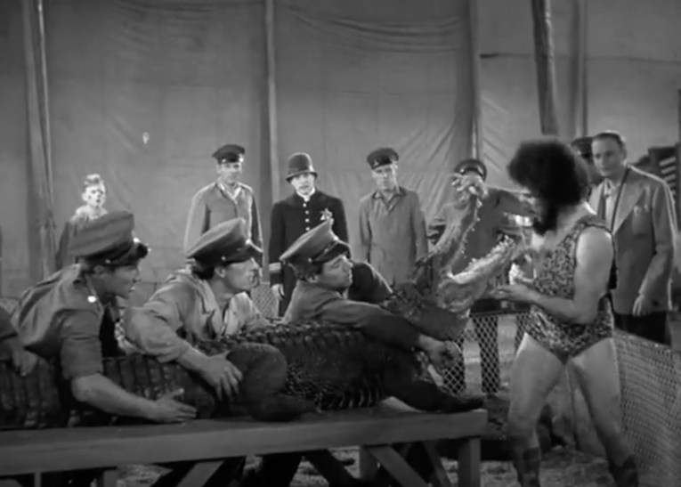 from You Can't Cheat an Honest Man, A group of men hold an alligator on a table, a man in a leopard print leotard opens the gator's mouth.