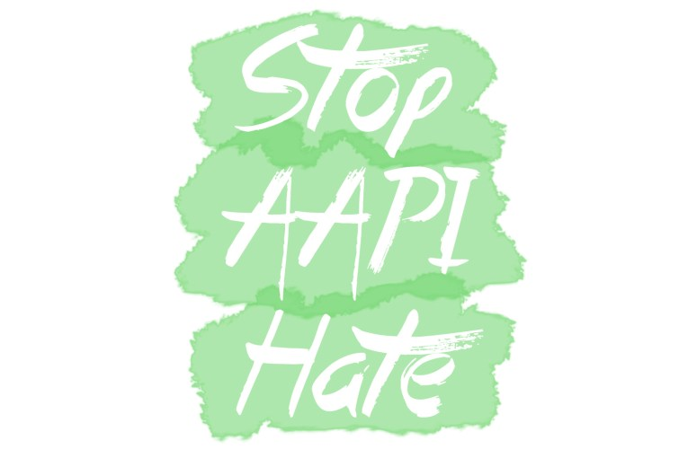 "Graphic with green watercolor shapes and white text overlay reading ""Stop AAPI Hate"""