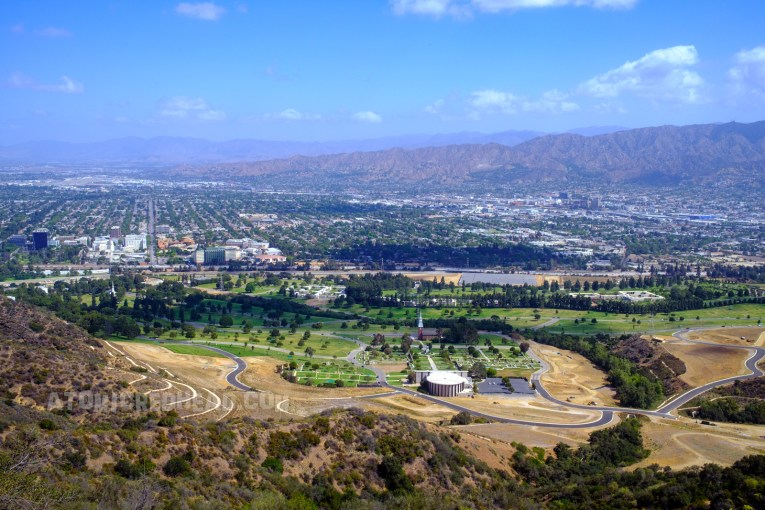 View overlooking Forest Lawn cemetery that then gives way to Burbank.