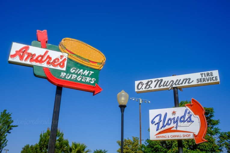"""Multiple neon signs, one for """"Andre's Giant Hamburgers"""" another for """"Flloyd's"""""""