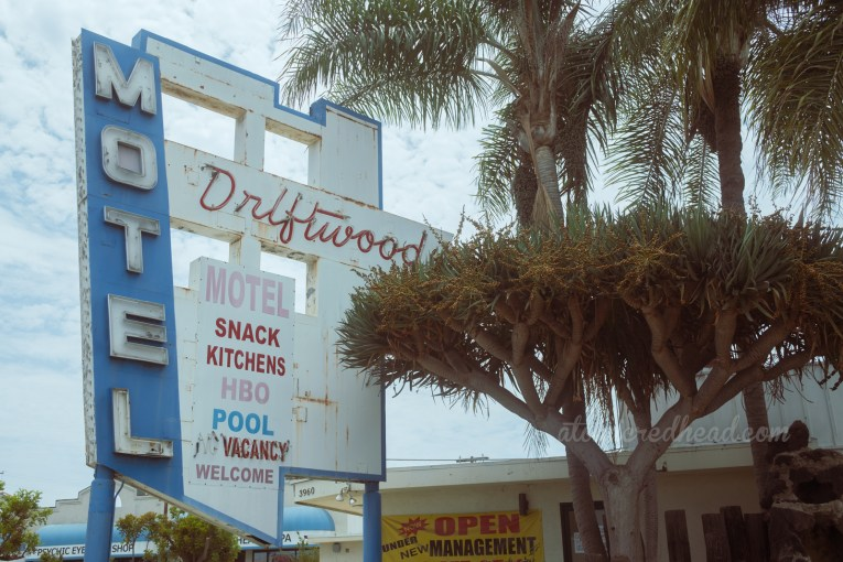 """A blue and white sign reading """"Driftwood"""" in red script neon and """"Motel"""" in white letters, painted also on the sign reads """"Snack Kitchens, HBO, Pool, Welcome"""" and also features a small """"No Vacancy"""" neon."""