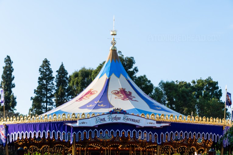 The colorfully painted roof of King Arthur's Carousel.