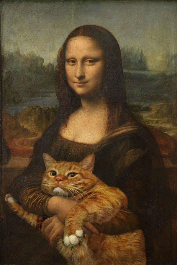Cuadro de gato al óleo