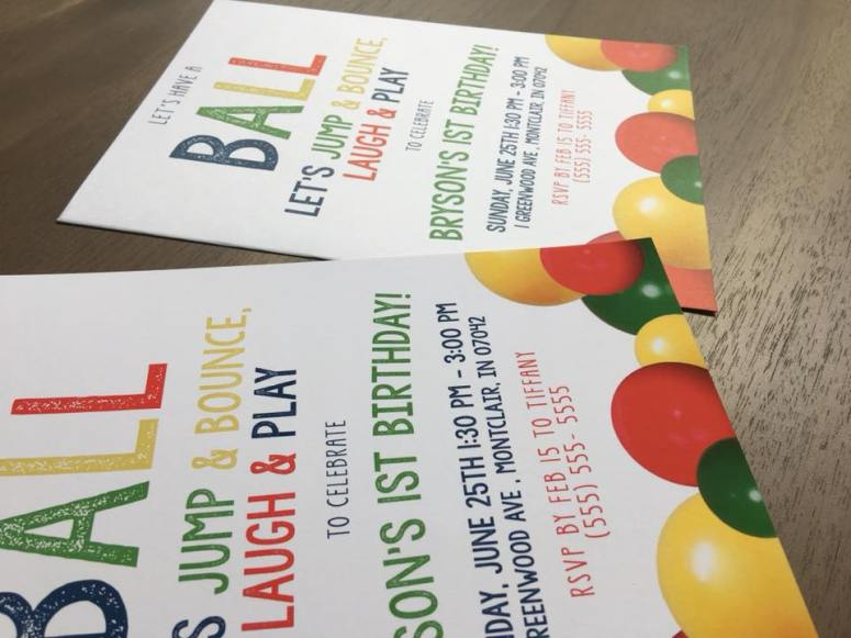 Ball Party Invitations Side By Side