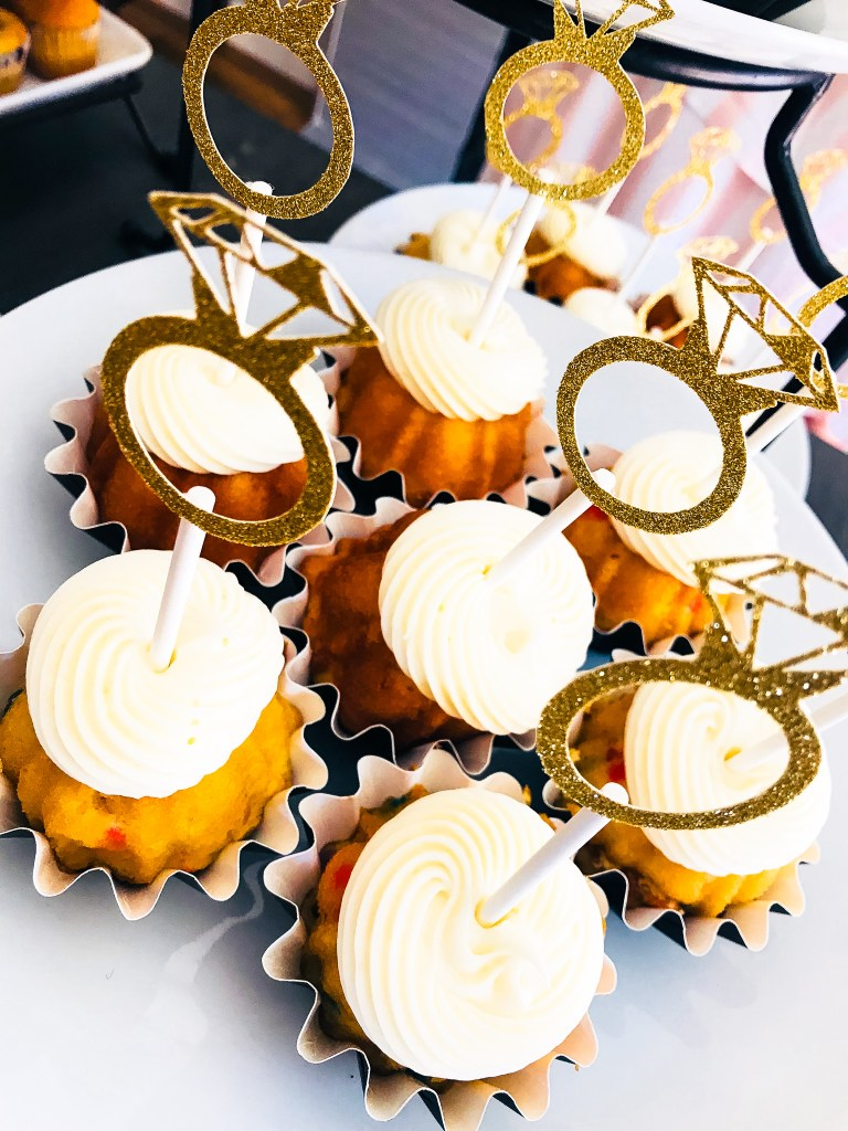 Gold Ring Bridal Shower Cupcakes for Bubbly and Brunch Bridal Shower Decorations