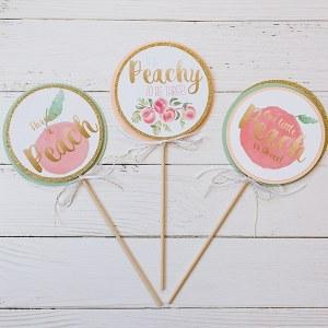 Custom Centerpiece Sticks for Peach Party
