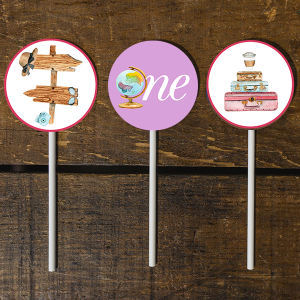 First Birthday Travel Theme Cupcake Toppers