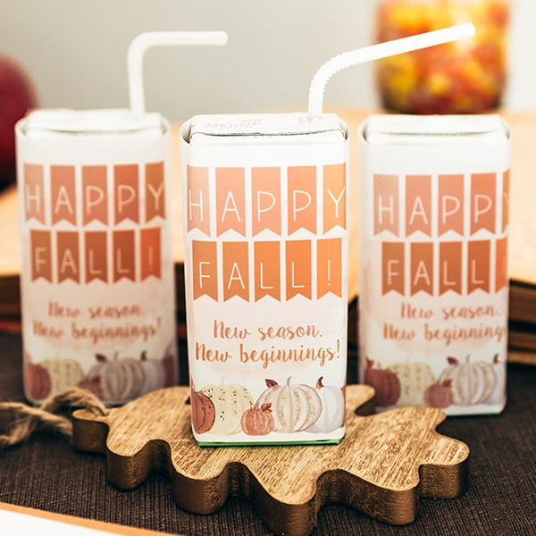 Fall Classroom Party Juice Box Covers