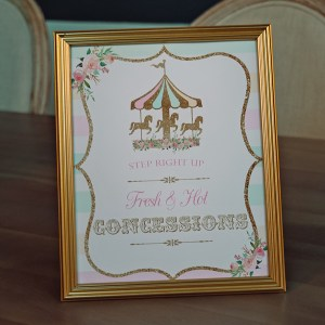 Pastel and Gold Carousel Birthday Party Concessions Sign