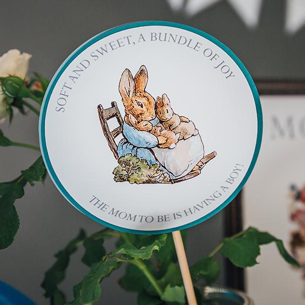 Peter Rabbit Baby Shower Centerpiece Sticks
