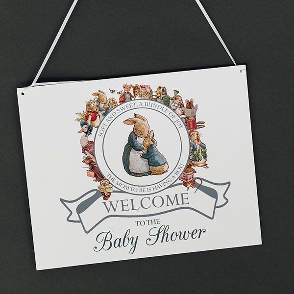 Peter Rabbit Shower Welcome Sign