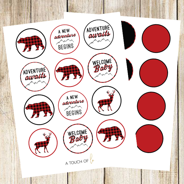 Buffalo Plaid Baby Shower Cupcake Toppers