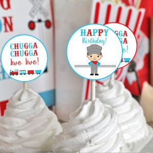 Train Birthday Party Cupcake Toppers