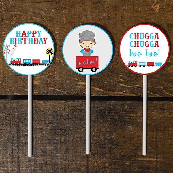 Chugga Chugga Two Two Birthday Party Cupcake Toppers