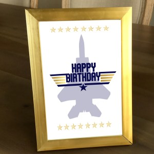 Gold and Navy Top Gun Happy Birthday Sign (5 x 7)