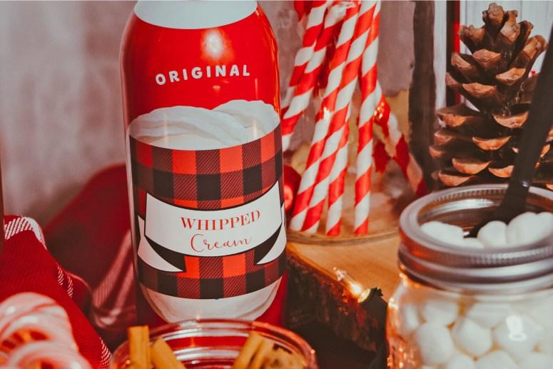 Whipped Cream buffalo plaid label