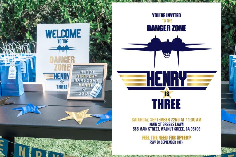 Blue and Gold Top Gun Birthday Party Invitation