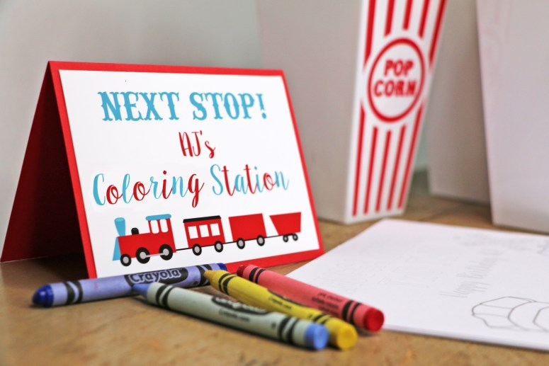 Coloring Station for Train Party