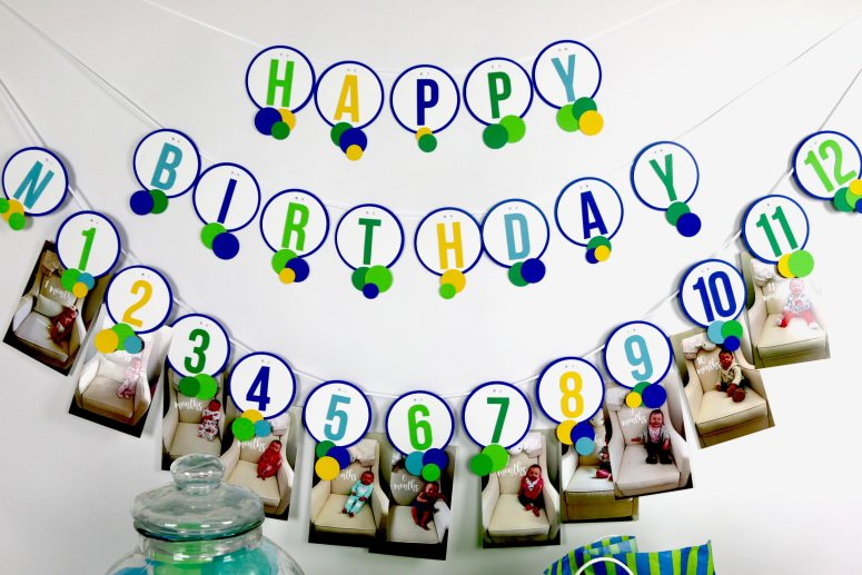 Blue and Green Ball Birthday Party 12 Month Banner