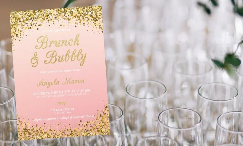 Brunch and Bubbly Bridal Shower Invitation Etsy Invite