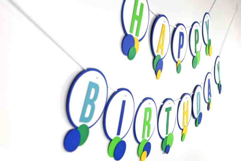 Blue and green ball party decorations