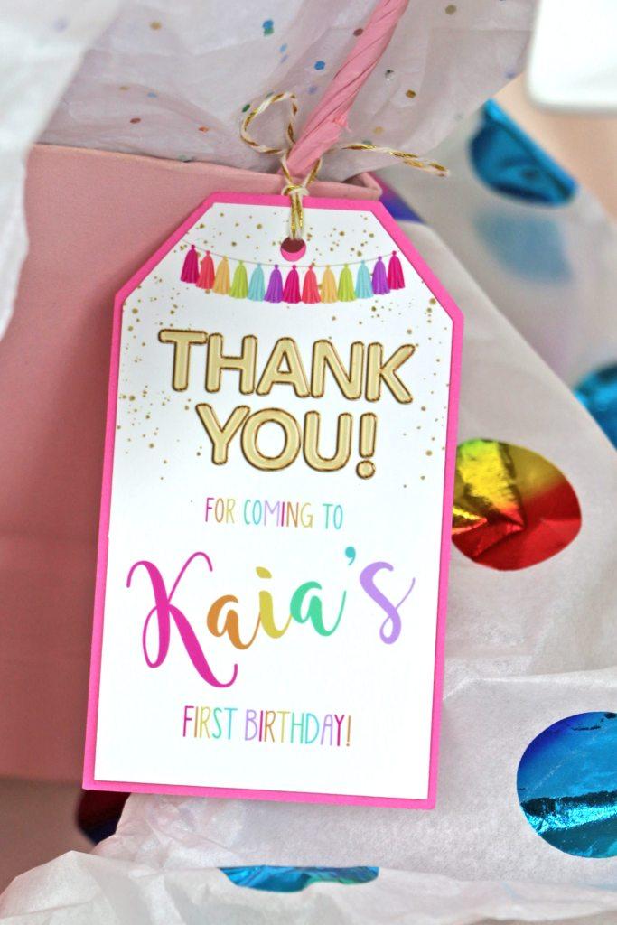 Rainbow Birthday Party Favor Tag Closeup