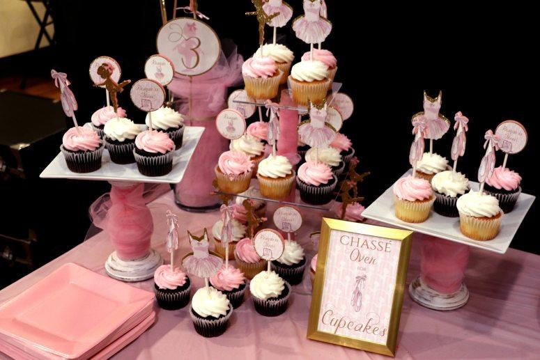 Ballerina Birthday Party Cupcake Layout