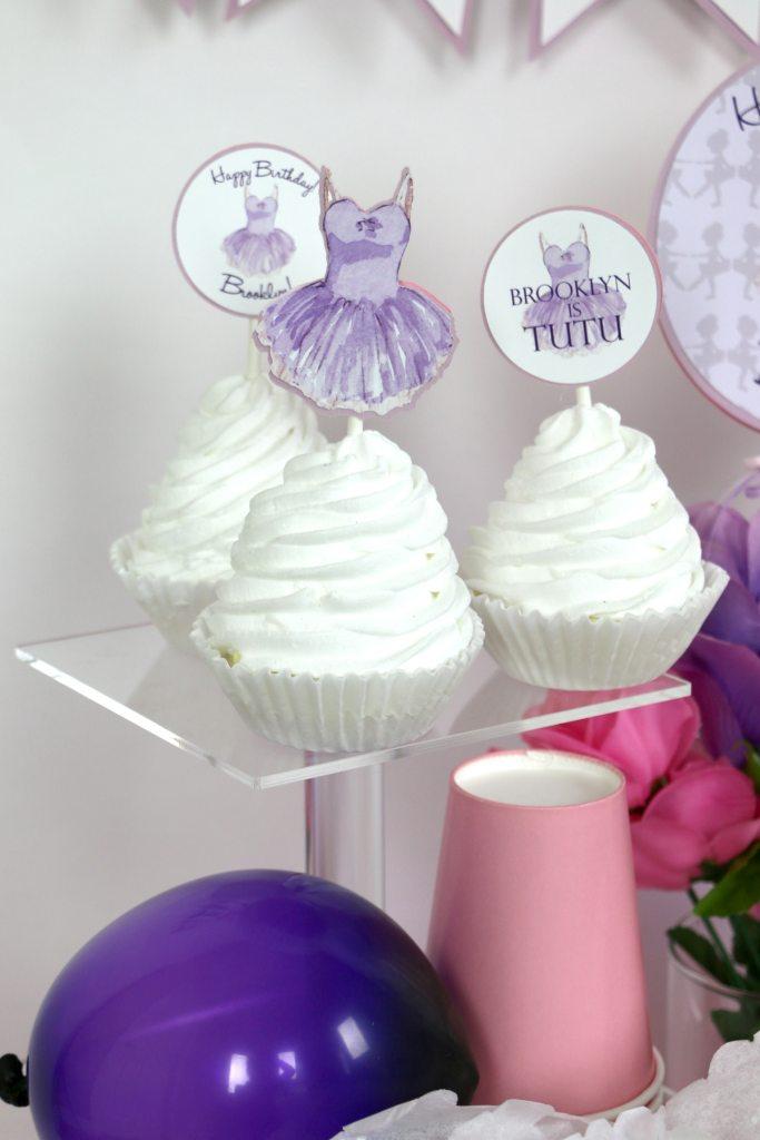 Purple tutu party decorations: Purple tutu party cupcake toppers