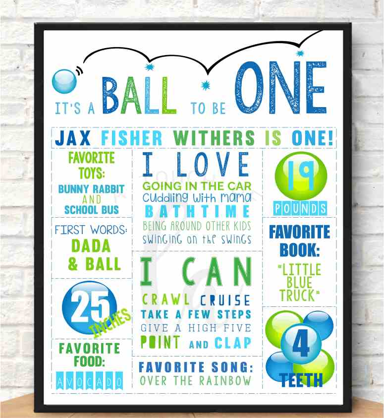 Blue and Green Ball Party Poster