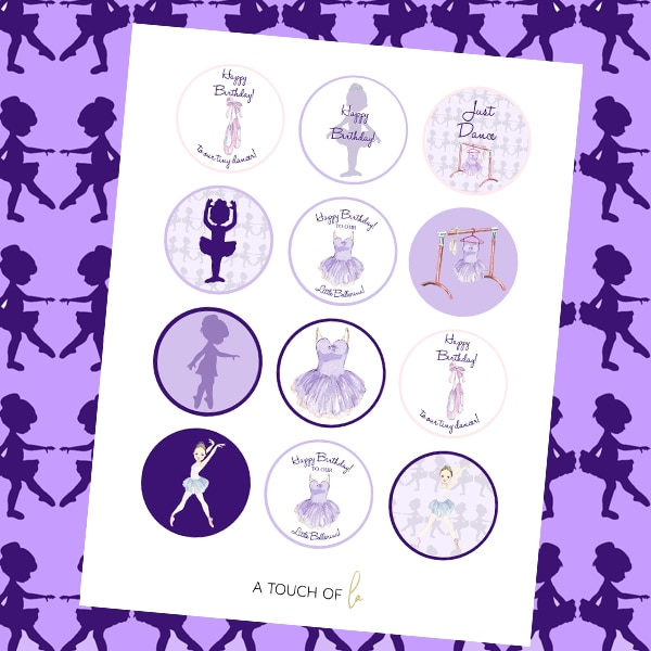Purple Ballerina Party Printable Cupcake Toppers