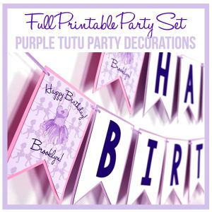 Purple Ballerina Printable Party Decorations Set