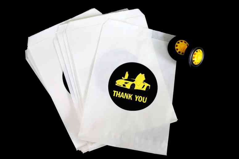 black and yellow Lamborghini Birthday party ideas: Favor bags