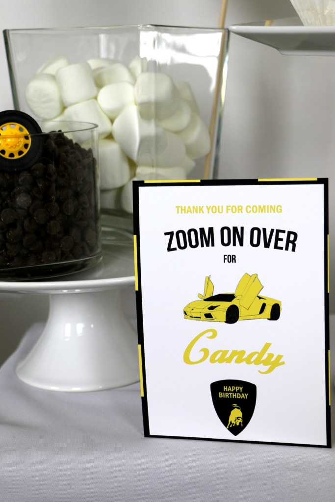 black and yellow Lamborghini Birthday party supplies, a lamborghini party candy bar