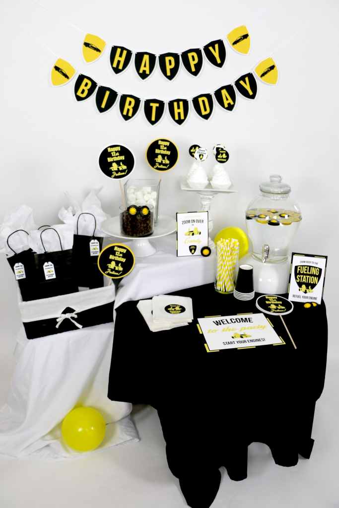 black and yellow Lamborghini Birthday party supplies