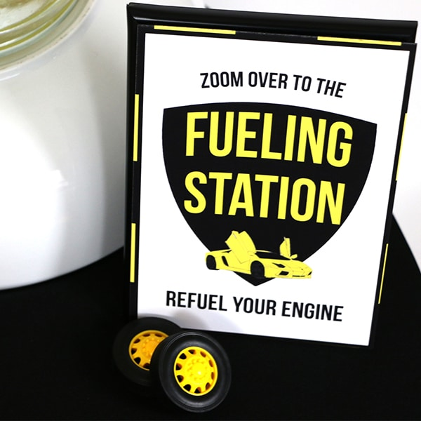 Yellow and black Supercar Party Fueling Station Sign