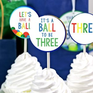 Ball Party 3rd Birthday Cupcake Topper