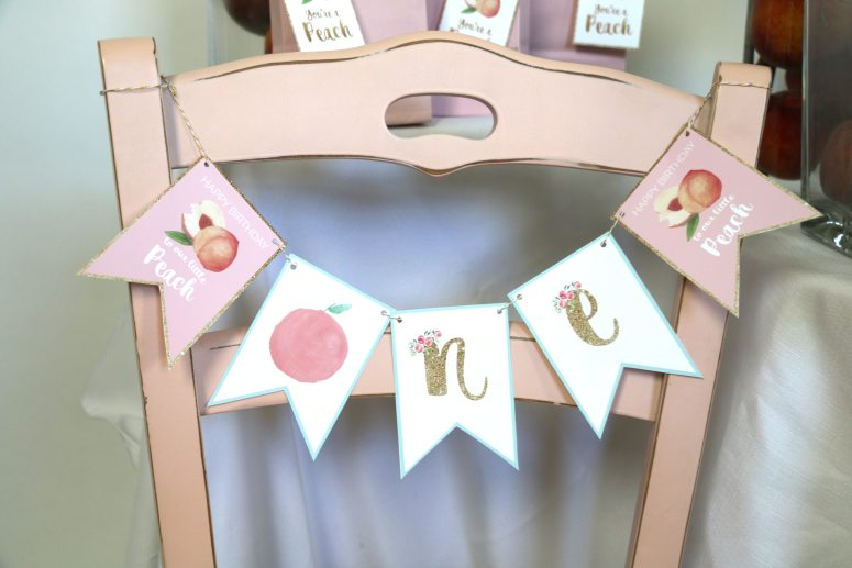 Sweet as a peach party decorations for your one year old!