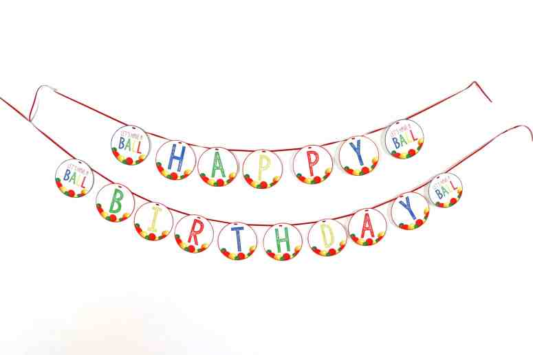This Ball themed Happy Birthday banner is perfect if your little one is bouncing into their next birthday!  #ballparty #letshaveaballparty #firstbirthdayballparty #ballpartytheme #ballpartybanner #itsaballtobetwo #itsaballtobethree #itsaballtobefour