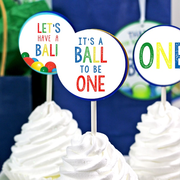 It's A Ball to Be One Cupcake Toppers