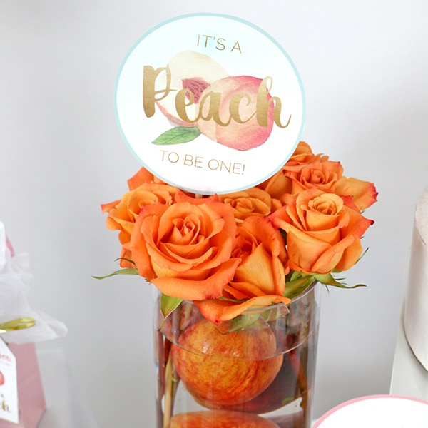 It's A Peach to Be One Centerpiece Sticks