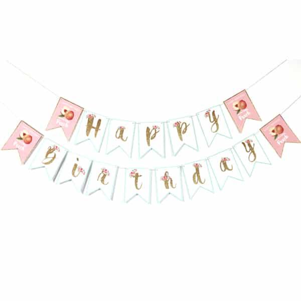 Peach Party Happy Birthday Banner