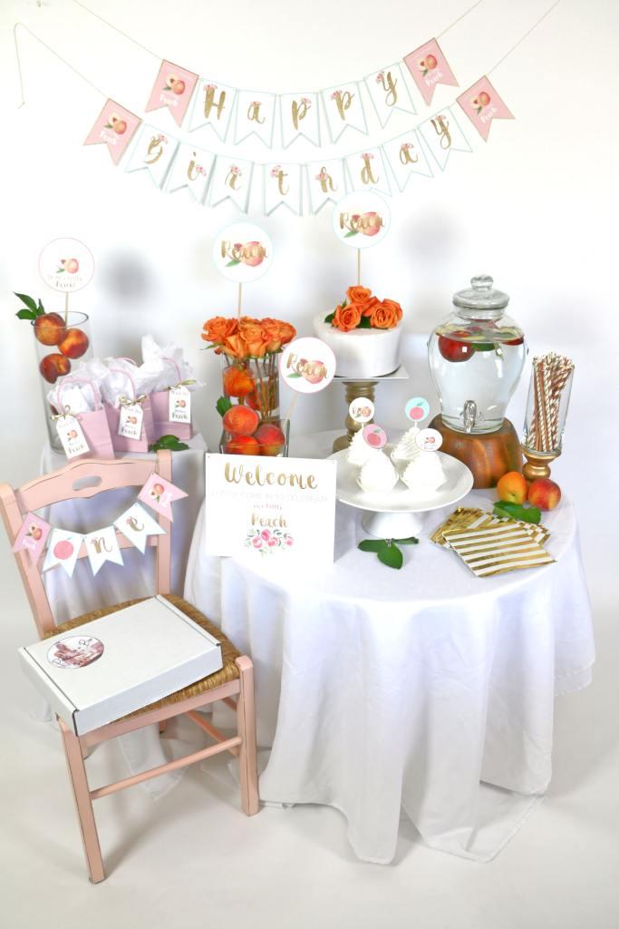 Peaches Birthday Party Setup