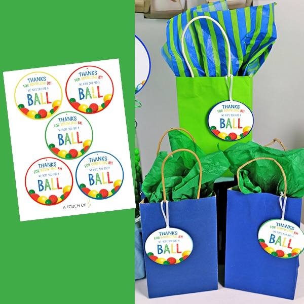 Thanks for Bouncing By Printable Ball Party Favor Tags