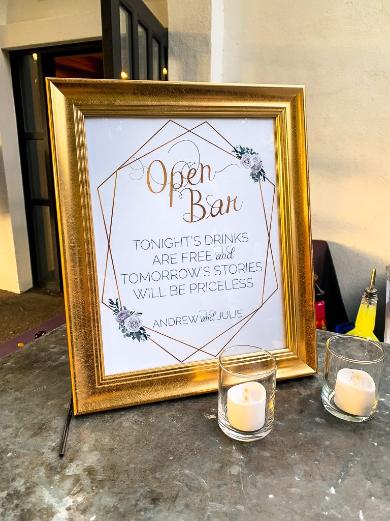 Custom Open Bar Wedding Sign