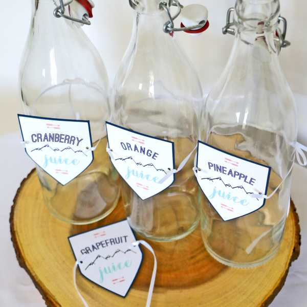 Feminine Adventure Baby Shower: Momosa Bar Juice Tags